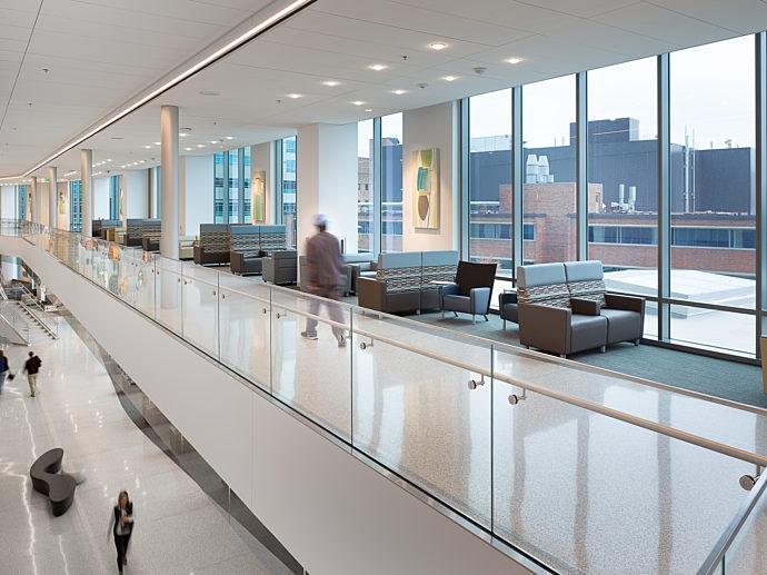 The mezzanine above the main lobby